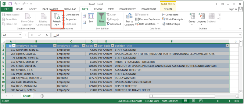 Excel's Refresh All button